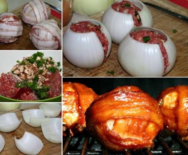 Cebola recheada com cobertura de bacon