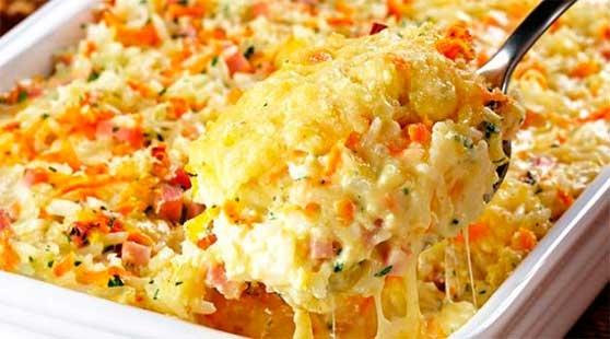 Arroz com queijo parmesão