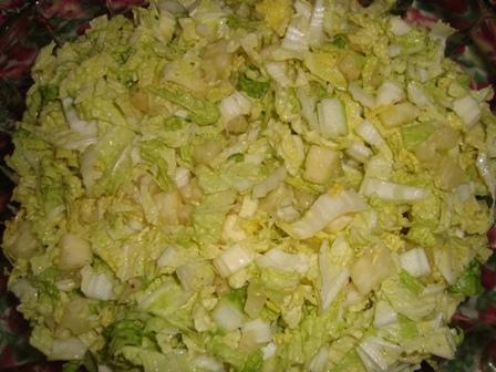 Salada de acelga com creme de leite e abacaxi