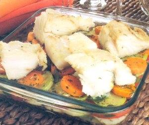 Bacalhau com Ervas Finas e Legumes