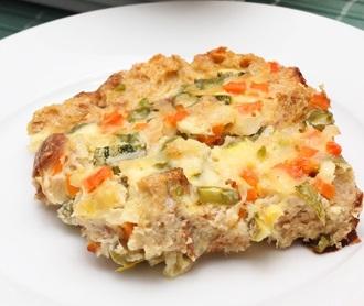 Torta integral de pão com legumes
