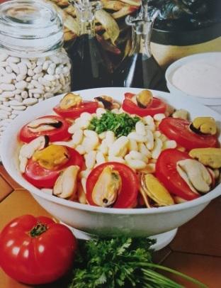 Salada de Feijão com Mexilhões