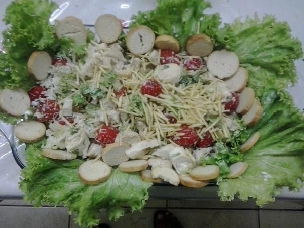 Salada de palmito com frango