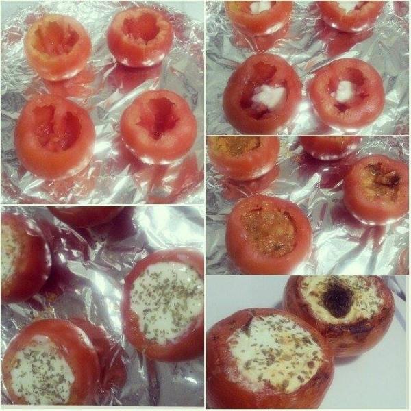 Tomates recheados de camarão