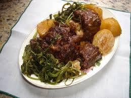 Rabada com batata e agrião