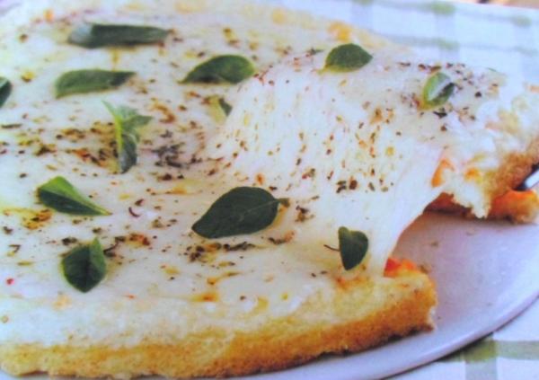 Pizza de arroz á Margherita